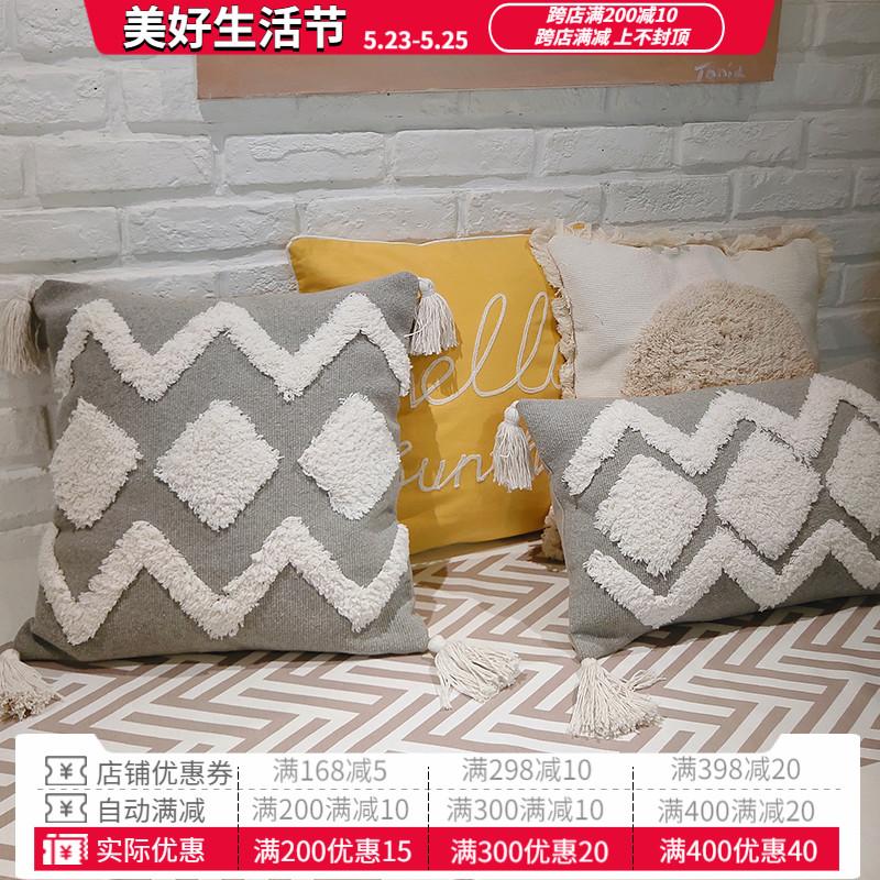 棉花大盜刺繡灰色重工抱枕厚實流蘇靠墊套含芯PP棉沙發靠包腰枕套