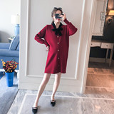 Maternity autumn dress maternity dress autumn and winter fashion section 2020 new temperament loose mid-length knitted sweater skirt