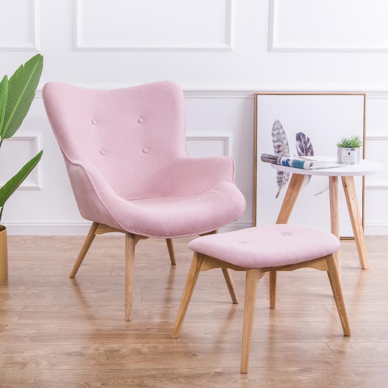 北欧单人沙发椅现代简约小户型休闲老虎椅卧室阳台懒人小沙发躺椅