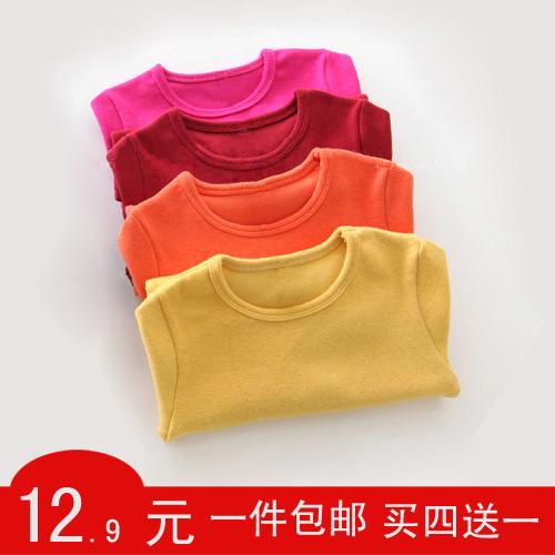 新款春秋款中大童裝男女童裝寶寶兒童加厚加絨棉圓領長袖T恤打底