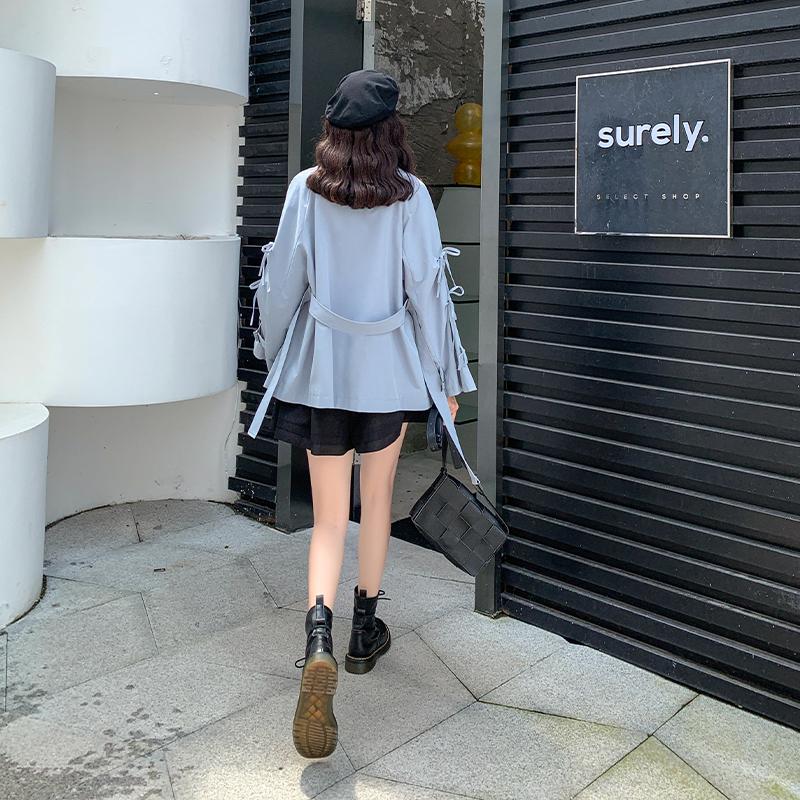 MG小象中长款小个子风衣外套过膝秋装2020新款女韩版宽松收腰显瘦