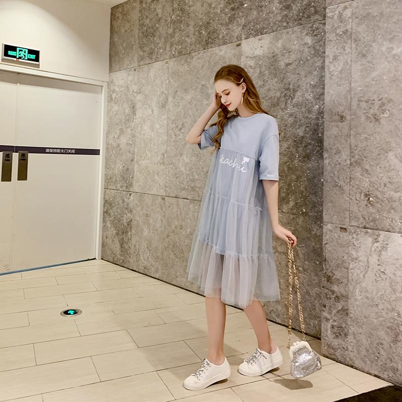 MG小象皮卡丘联名很仙的法国小众连衣裙2019新款夏流行网纱长裙子