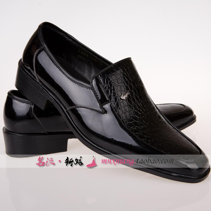 影楼拍照男士黑白色皮鞋舞台大合唱主持演出鞋礼服试衣间皮拖鞋男