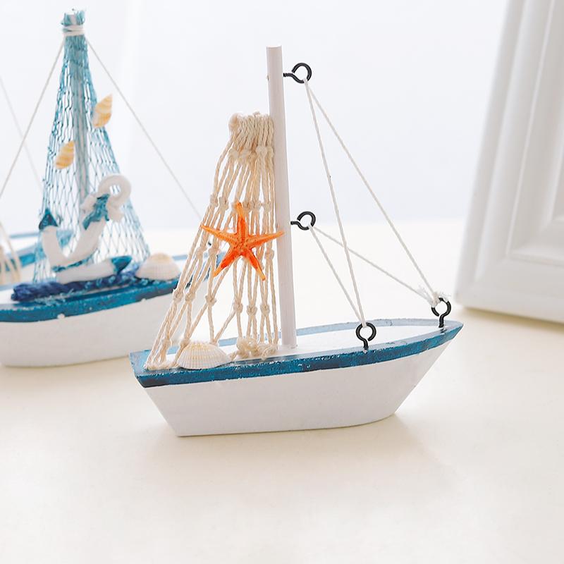 地中海帆船模型一帆风顺船桌面摆件摆设创意木质小木船装饰工艺品