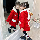Girl's cotton coat 2019 new winter children's down cotton jacket mid-length foreign cotton jacket female cartoon jacket Han Chao