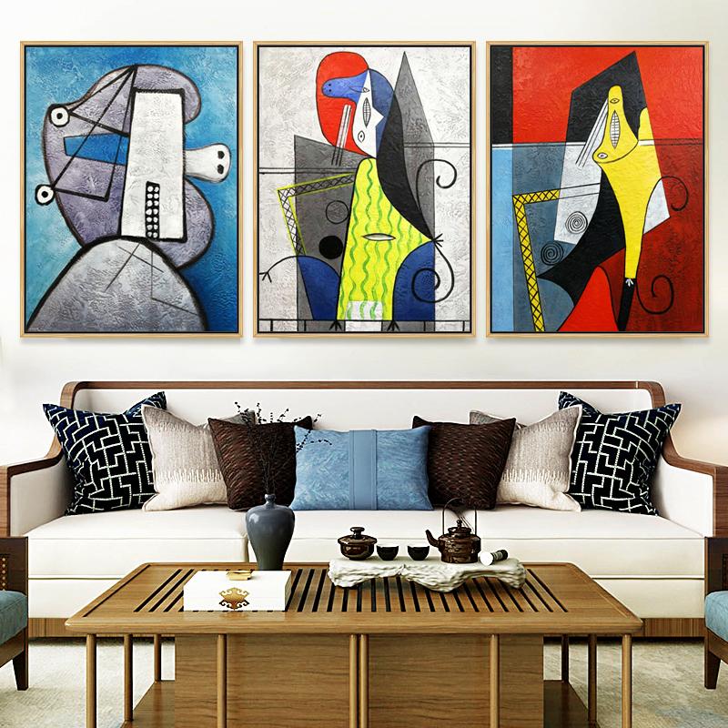 現代簡約裝飾畫客廳沙發背景墻三聯畫純手繪大氣抽象畫畢加索油畫