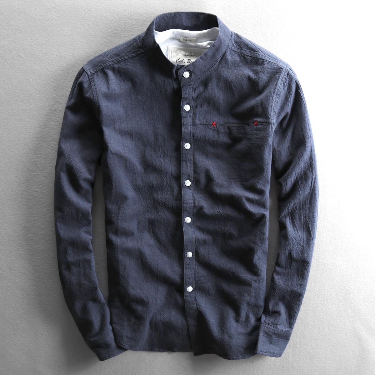 秋季男士新款休闲亚麻衬衫立领修身长袖棉麻布料薄款简约上衣衬衣