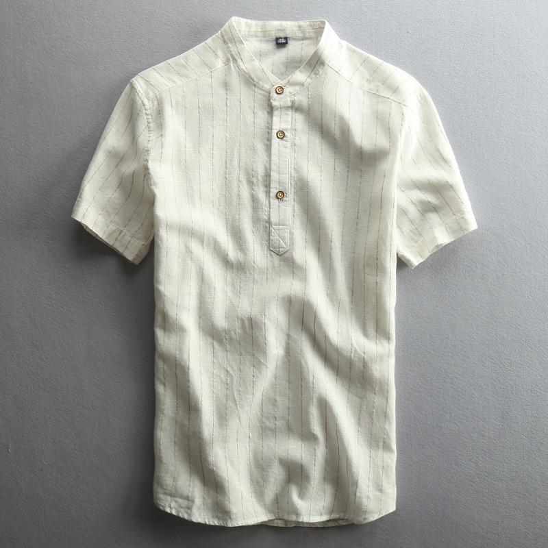 夏季男士休闲亚麻衬衫短袖套头立领中国风薄款条纹日系棉麻布衬衣