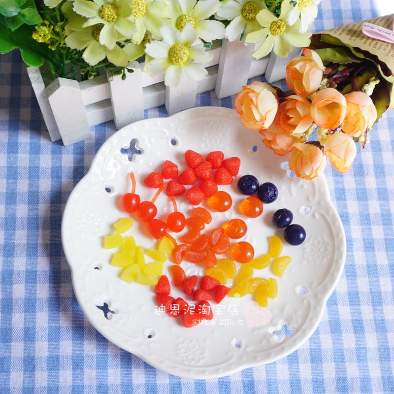 食玩伴侣奶油土粘土树脂土装饰物仿真水果草莓樱桃桔子瓣桑葚树莓