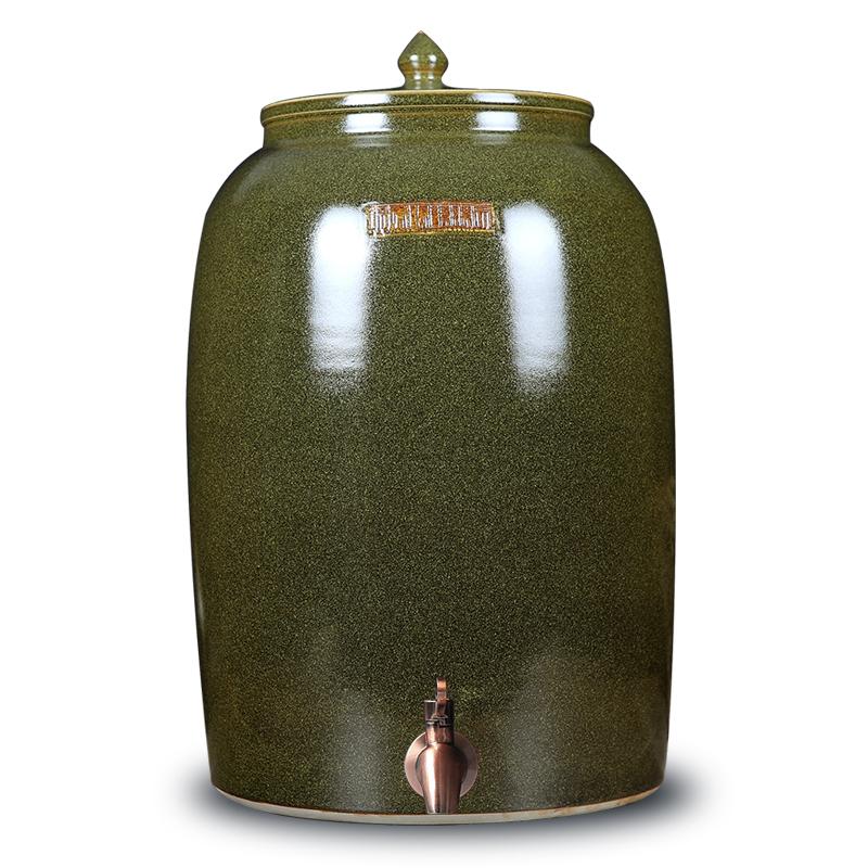 陶瓷酒缸油缸酒坛储水缸50斤100斤大水桶茶叶末缸带水龙头景德镇