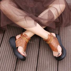 个性凉鞋新款潮鞋 百搭坡跟女鞋 夏季真皮夹趾凉拖 罗马厚底凉靴