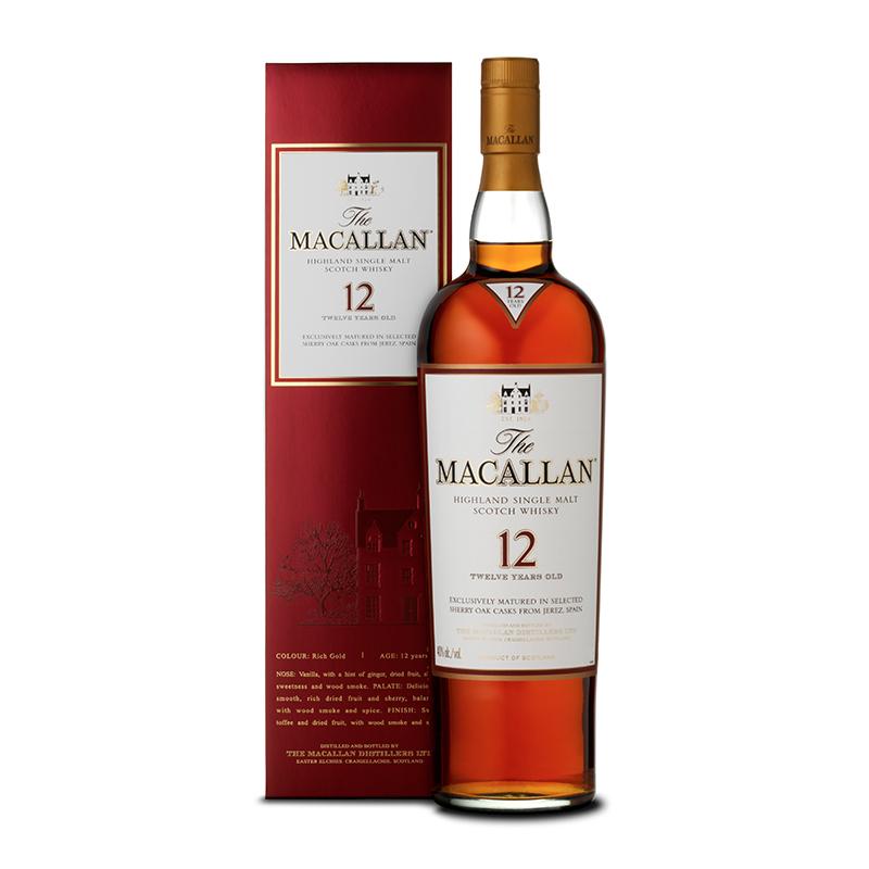700ml 年雪莉桶单一麦芽苏格兰威士忌 12 麦卡伦 Macallan