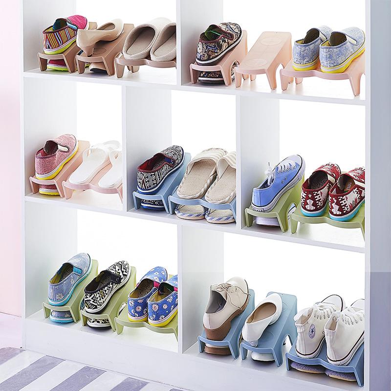 家用双层鞋子收纳架塑料一体式鞋托简约现代客厅衣柜简易收纳鞋架
