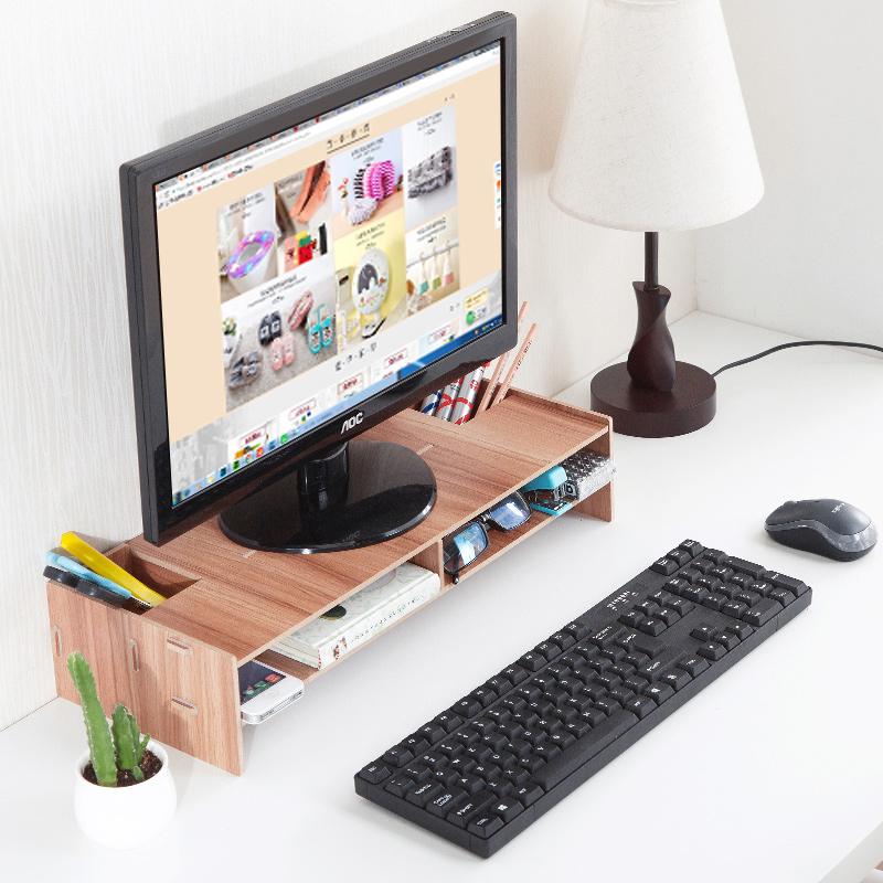 居家家木质电视增高架客厅桌面收纳架子创意卧室电脑显示器置物架