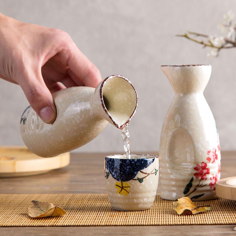 居家家日式陶瓷白酒杯白酒清酒杯家用复古小酒盅酒杯白酒壶清酒壶