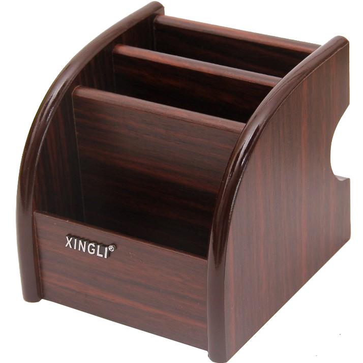 創意歐式客廳木紋色茶几小號木質桌面文具化妝手機遙控器收納盒架