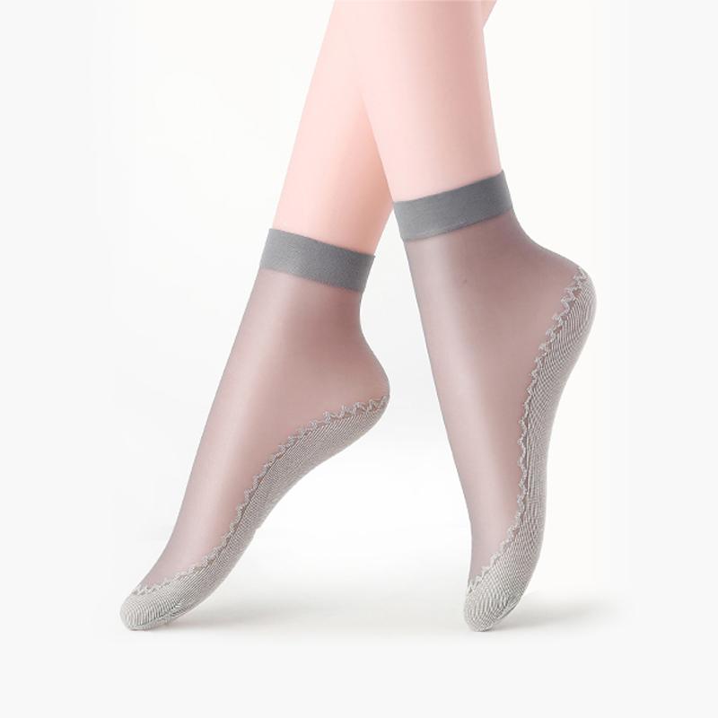 北极绒水晶短袜防滑棉底丝袜中筒秋季黑色肤色防勾丝薄款隐形袜子