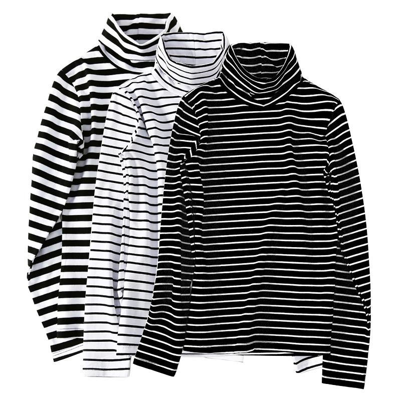 莫代尔高领打底衫女2018新款韩版女装修身条纹长袖t恤女秋衣