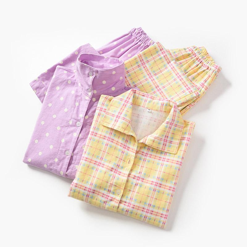 日系 秋冬款 家居服 长袖长裤两件装 女士纯棉绒布睡衣套装