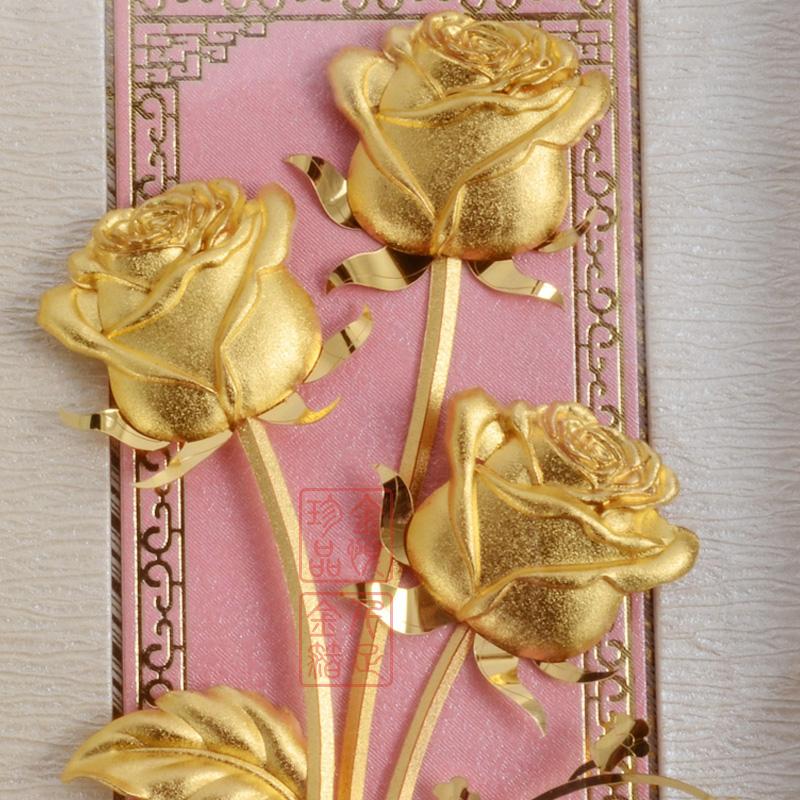金箔金玫瑰花创意情人节礼物生日送女朋友客厅卧室装饰画挂画摆件