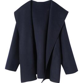 藏蓝色羊毛连帽斗篷双面呢大衣英伦风短款宽松羊绒呢子外套女秋冬