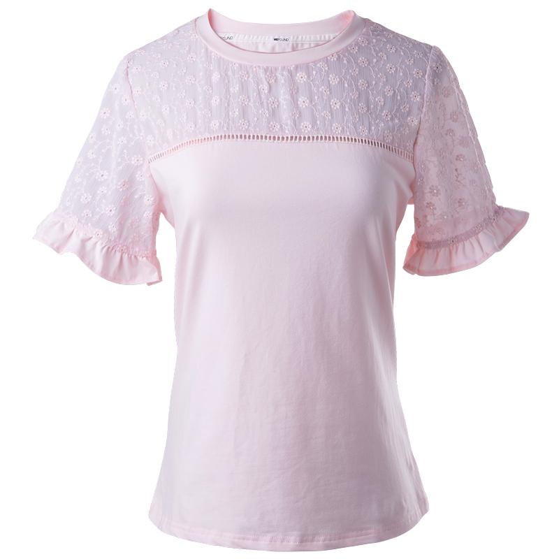 白色T恤女短袖蕾丝上衣棉立方2019夏新款女装修身韩版圆领打底衫