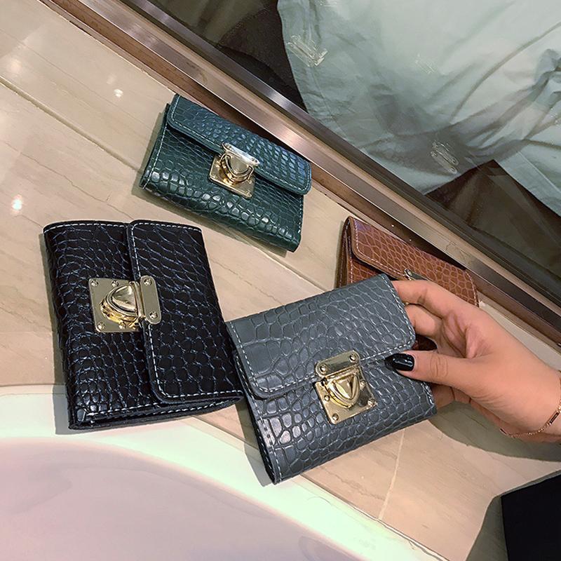 新款韩版时尚潮简约插锁短款钱包三折叠手拿钱夹 2017 鳄鱼纹包包女