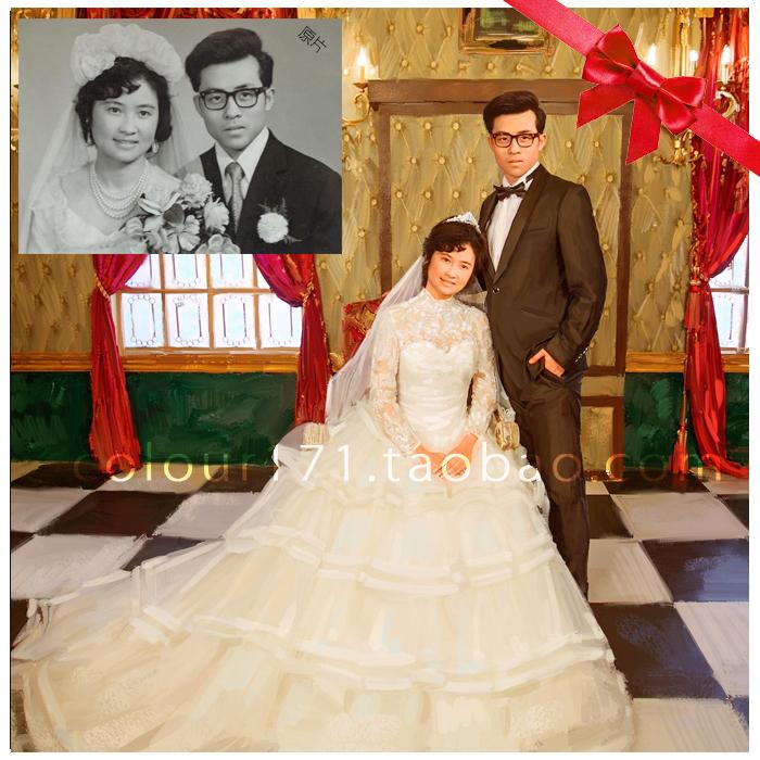 純手繪肖像油畫定制 送父母金婚紀念創意禮物 創意老照片翻新