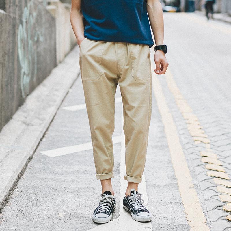 日系潮男松紧亚麻裤男生裤子夏季休闲9九分裤男士宽松薄款小脚裤