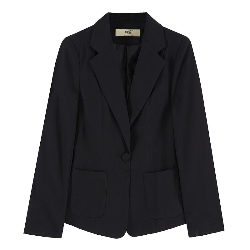 小西装外套女韩版休闲长袖春装白色收腰百搭修身短款黑色西服上衣