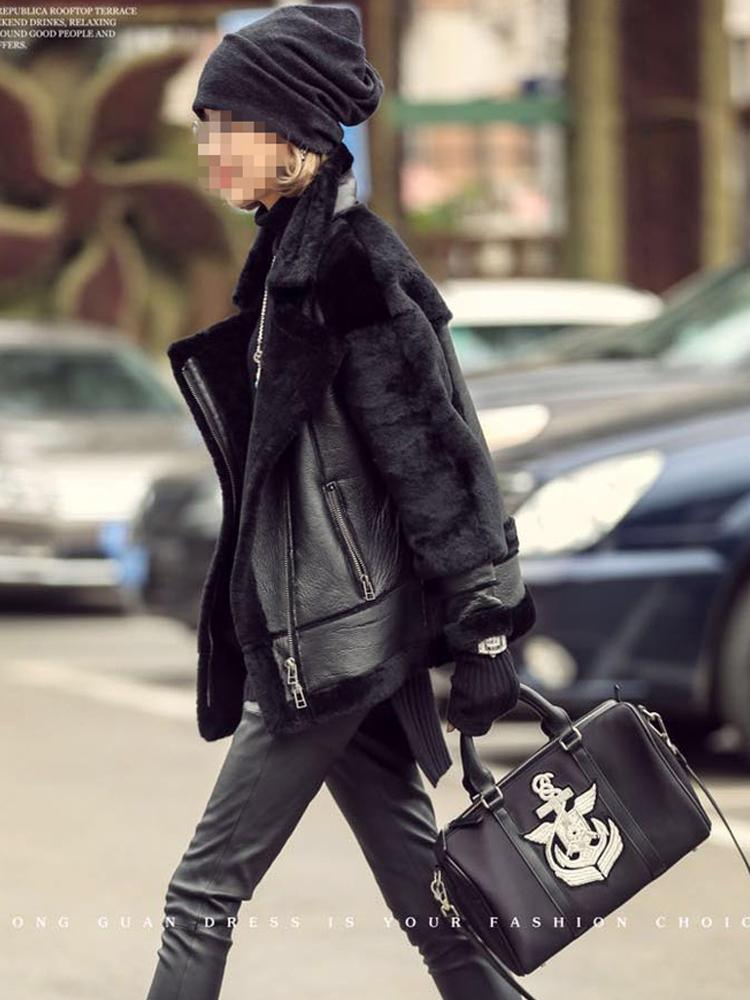 羊羔毛进口皮毛一体羊剪绒皮草外套机车服短款女冬2019新真皮衣