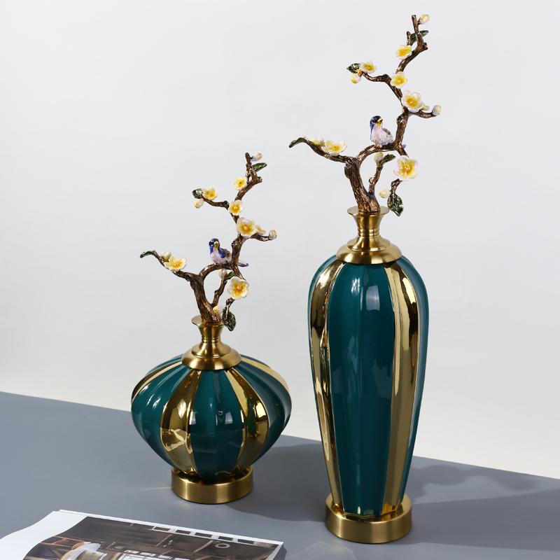 新中式珐琅彩玄关花瓶摆件陶瓷欧式纯铜客厅高档奢华家居软装饰品