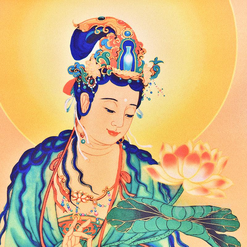 西方三圣画像挂画高清立体 佛像丝绸挂画 三圣神像画家用供奉