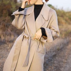 专柜3000+ 澳毛水波纹 雾霾蓝色大衣女双面羊绒 系带长款过膝外套