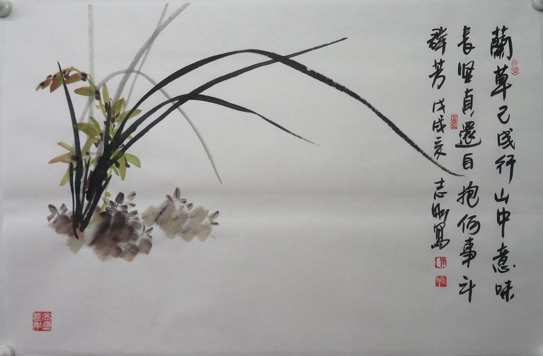 吴志刚横幅手绘水墨写意传统中国画逸品《咏兰诗词》墨兰花草包邮