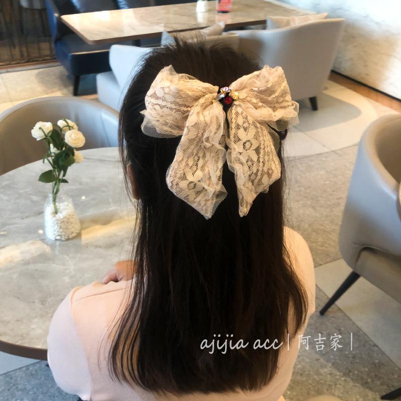 超仙公主风蕾丝蝴蝶结头饰高端精致后脑勺发夹女夏季仙气发卡水晶