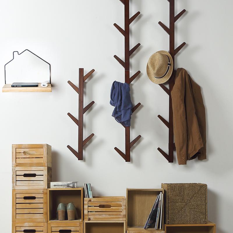北歐壁掛衣服掛鉤置物架牆壁掛衣鉤創意牆上掛衣架實木玄關衣帽架