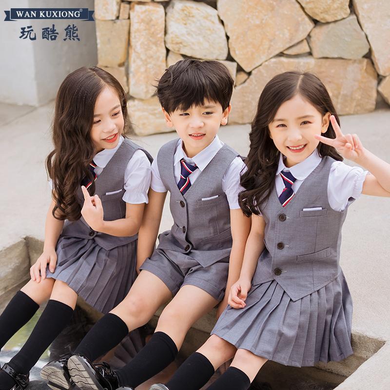 幼儿园园服春秋夏套装英伦学院儿童班服西装韩版小学生校服三件套
