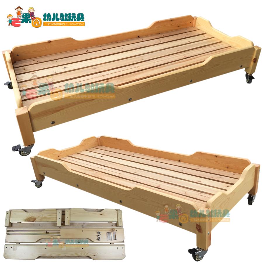 幼儿园亲子园儿童原木床 实木床午休床俄罗斯樟子松木床加厚拆装
