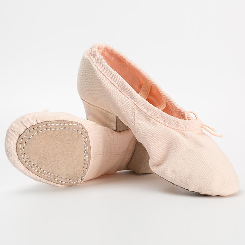 教師鞋帶跟舞蹈鞋女真皮帆布軟底練功鞋民族舞瑜伽肚皮舞鞋紅白黑