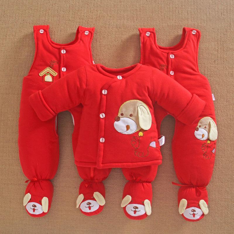 婴儿棉衣套装加厚红色满月新生儿衣服冬装3个月0连脚背带裤三件套