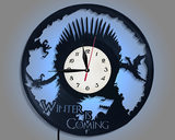 Creative game right vinyl records hanging wall clock watch Throne Art led night light when the remote control watch
