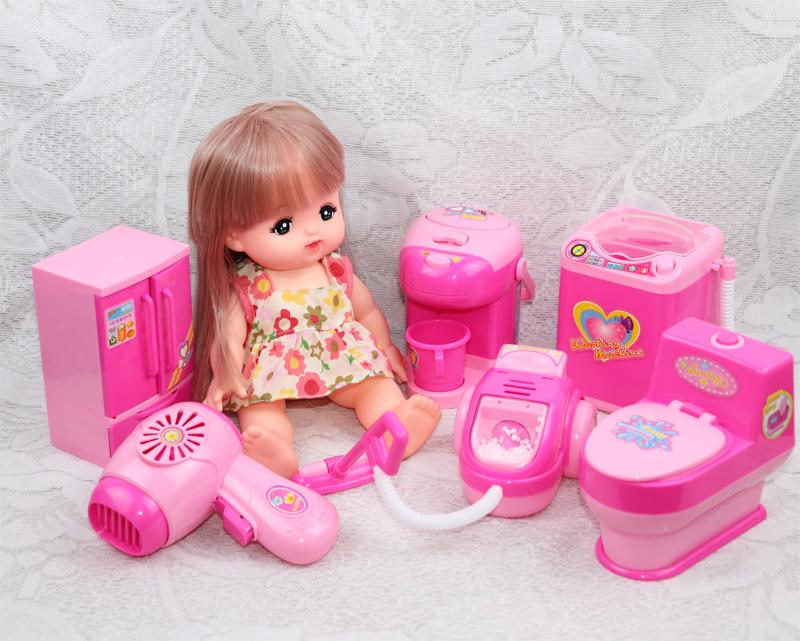 咪露娃娃衣服配件馬桶生活用品電動模擬小家電兒童過家家玩具套裝