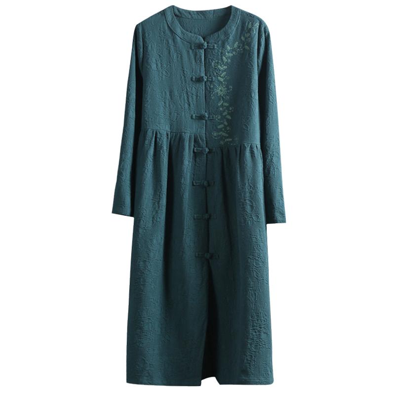 中国风复古盘扣文艺范风衣外套女秋装中长款民族风外搭棉麻开衫薄