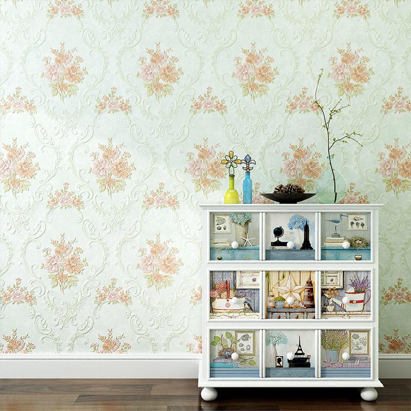 米素 温馨田园壁纸餐厅客厅背景墙壁纸pvc墙纸3d立体卧室 花雅