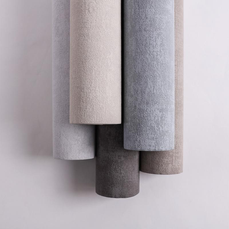 夕雾 北欧素色温馨卧室客厅背景墙壁纸 进口墙纸 米素新品