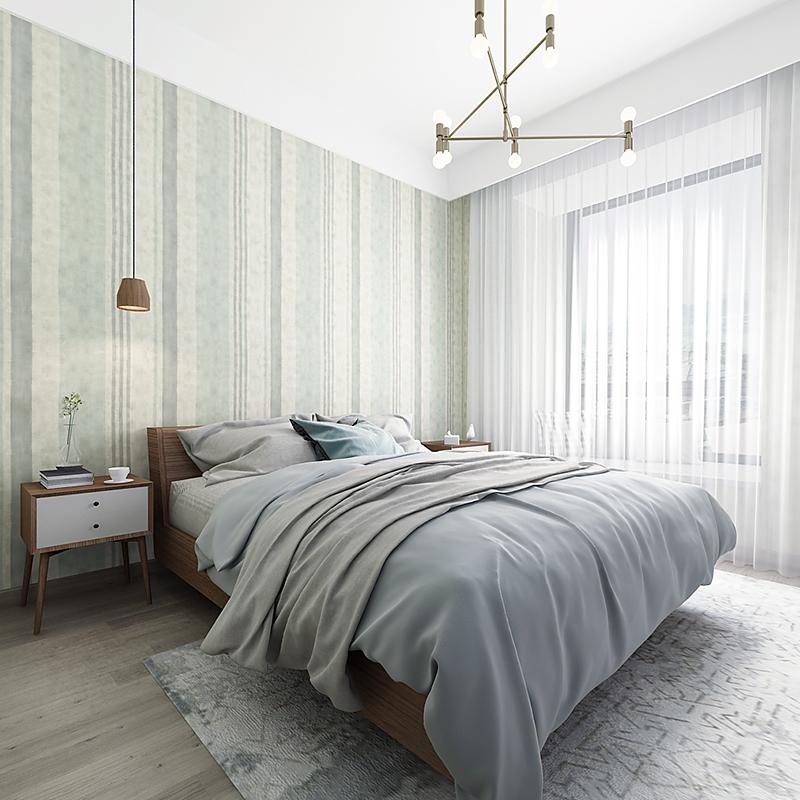 布洛森 非自粘壁纸 比利时原装进口美式竖条纹无纺底纸墙纸 米素