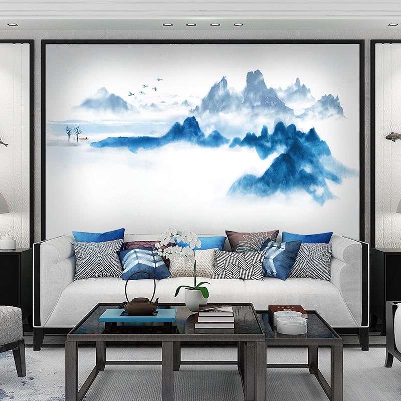 米素 水墨风格中式壁画 客厅卧室电视背景墙壁画墙纸 泼墨山水