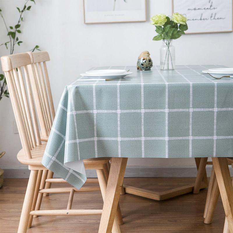 田园PVC格子纯色桌布防水防烫防油免洗长方形餐桌布茶几桌垫台布