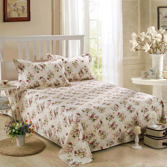 田园碎花纯全棉麻细帆布枕套床炕空调床单定制四季布床盖厚老粗布